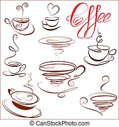 simboli, o, caffè, menu., set, campanelle, schizzo, caffè, stilizzato, ristorante, icone