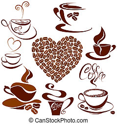simboli, o, cuore, caffè, menu., fagioli, set, campanelle, schizzo, fatto, caffè, stilizzato, ristorante, icone, forma