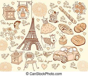 simboli, paris., d, collezione, mano