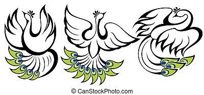 simboli, peacocks., uccelli