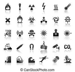 simboli, pericolo, nero, icone