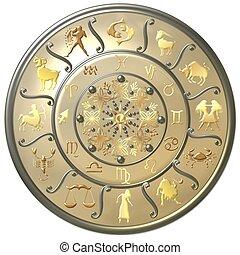 simboli, perla, zodiaco, disco, segni