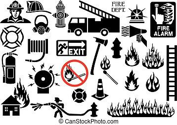 simboli, pompiere, icone