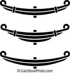 simboli, primavera, foglia, nero, veicolo