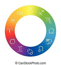 simboli, radix, astrologia, arcobaleno