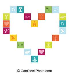 simboli, religione, cristiano, colorito
