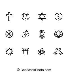 simboli, religione, set, icona