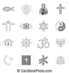 simboli, religione, set, icone