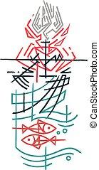 simboli, religioso, cristiano, illustrazione, inchiostro