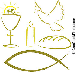 simboli, religioso, -, santo, comunione