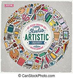 simboli, scarabocchiare, articoli, cartone animato, oggetti, set, arte
