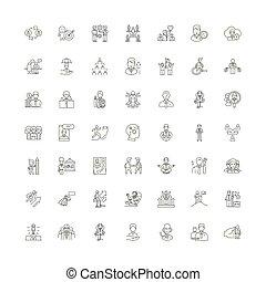 simboli, segni, set, lineare, illustrazione, esecutivo, icone, vettore, linea