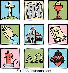 simboli, set, cristianesimo