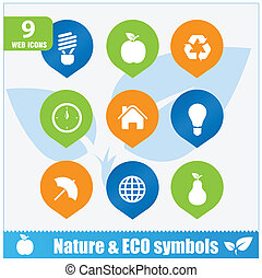 simboli, set, ecologia, natura