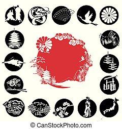 simboli, set, giapponese