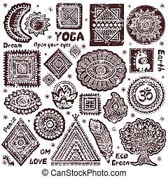 simboli, set, indiano, ornamentale