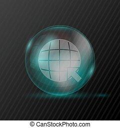 simboli, sfera, trasparente, freccia, terra