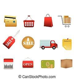 simboli, shopping, icone
