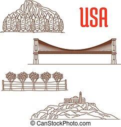 simboli, sightseeing, americano, limiti, natura
