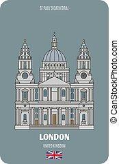 simboli, st, architettonico, paul, cattedrale, città, europeo, uk., londra