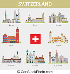 simboli, switzerland., set, cities., vettore