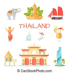 simboli, tailandia, nazionale, set, icone