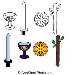 simboli, tarocco, completo