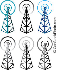 simboli, torre, set, radio, vettore