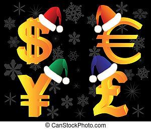 simboli, valuta, cappello, inverno