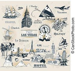 simboli, vendemmia, viaggiare