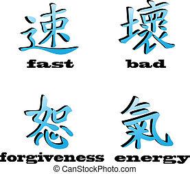 simboli, vettore, cinese