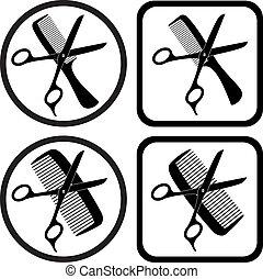 simboli, vettore, parrucchiere