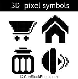 simboli, vettore, pixel