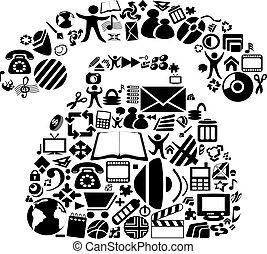simboli, vettore, telefono
