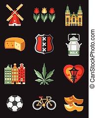 simboli, viaggiare, paesi bassi