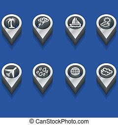 simboli, viaggiare, tempo, 3d