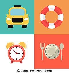 simboli, viaggiare, vacanze, collezione