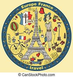 simboli, web, colorare, disegni, stampa, viaggiare, 2, illustrazione, francia, europa, set, attrazioni, disegno