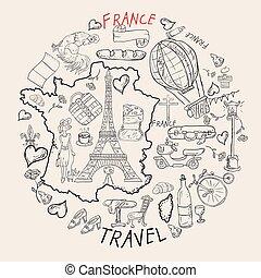 simboli, web, coloritura, stampa, contorno, illustrazione, viaggiare, 2, disegni, francia, set, attrazioni, disegno, paese, europa