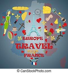 simboli, web, disegni, stampa, viaggiare, 2, illustrazione, francia, europa, set, attrazioni, disegno, appartamento