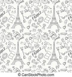 simboli, web, modello, scarabocchiare, contorno, disegni, illustrazione, stampa, viaggiare, 2, seamless, francia, europa, set, attrazioni, disegno, decorazione