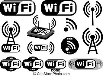 simboli, wi-fi, vettore, collezione
