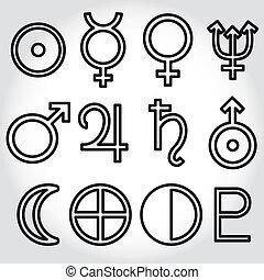 simboli, zodiaco, astrologia