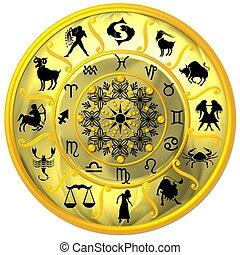 simboli, zodiaco, disco, giallo, segni