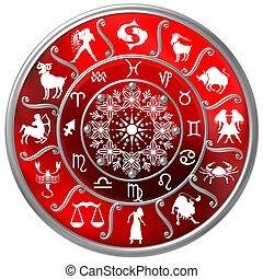 simboli, zodiaco, disco, rosso, segni