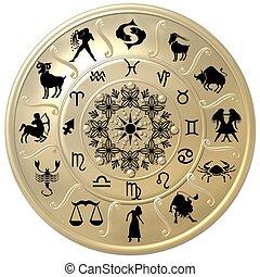 simboli, zodiaco, disco, segni