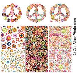 simbolico, disegno, hippie