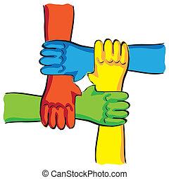 simbolico, -, illustrazione, collegamento, lavoro squadra, mani