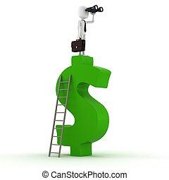 simbolo, 3d, dollaro, uomo