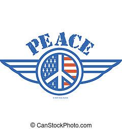 simbolo americano, pace, bandiera, segno